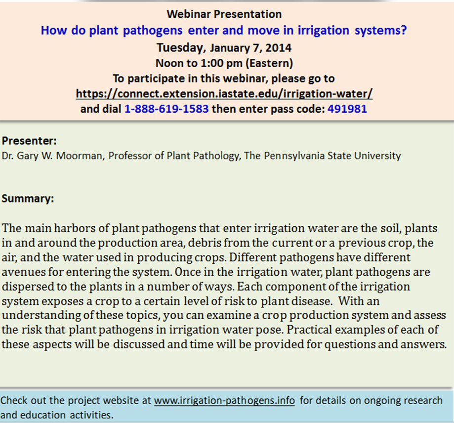 Webinar on irrigation